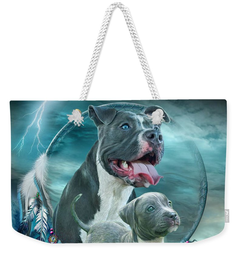 Rez Dog Cover Art Weekender Tote Bag featuring the mixed media Pit Bulls - Rez Dog by Carol Cavalaris
