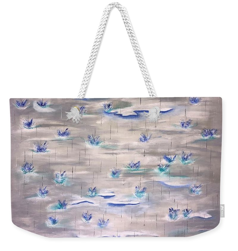 Blue Water Gray Ocean Splash Abstract Weekender Tote Bag featuring the painting Pitter Patter II by Pete Sirna