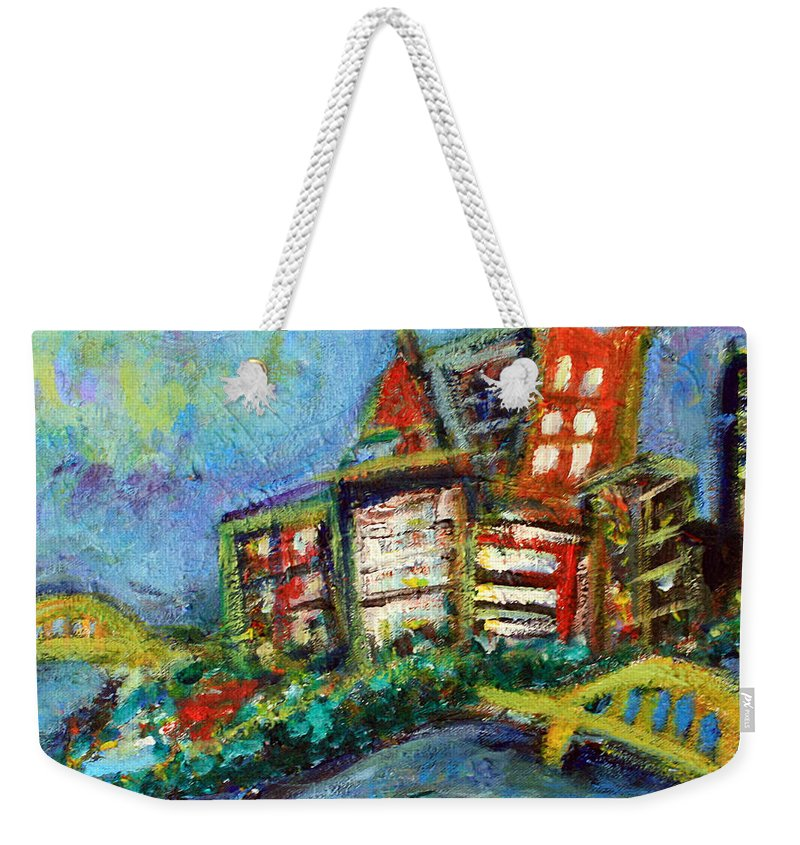 Pittsburgh Pennsylvania Cityscape City Skyline Downtown Bridge Weekender Tote Bag featuring the painting Pittsburgh by Jason Gluskin