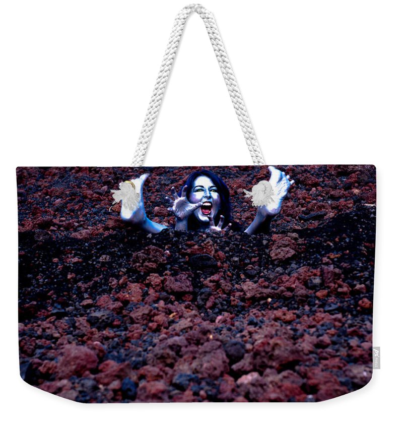 Silver Woman Weekender Tote Bag featuring the photograph Pixie Bath by Scott Sawyer