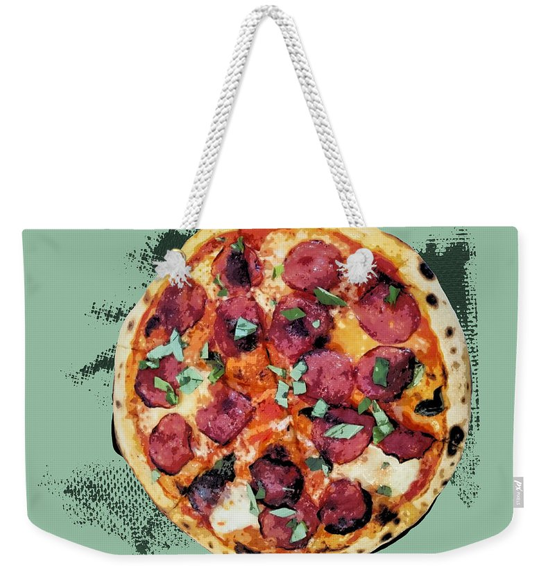 Pop Art Weekender Tote Bag featuring the painting Pizza - The Corleone Special by Dominic Piperata