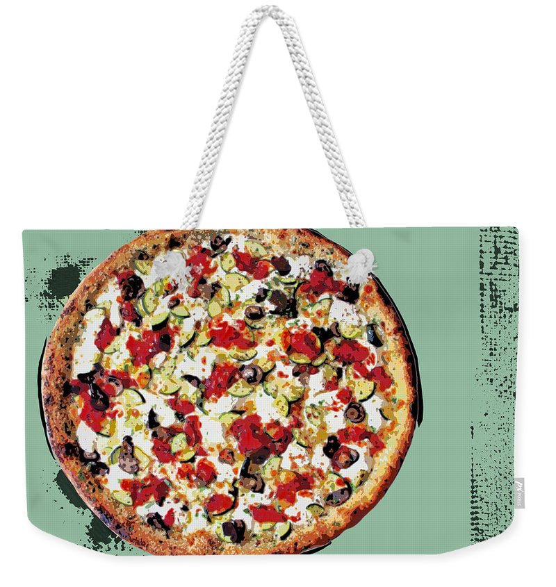 Pop Art Weekender Tote Bag featuring the painting Pizza - The Guido Special by Dominic Piperata