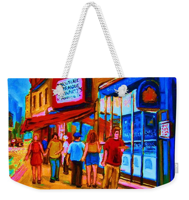Schwartzs Hebrew Deli Weekender Tote Bag featuring the painting Pizza To Go by Carole Spandau