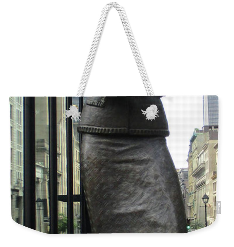 Montreal Weekender Tote Bag featuring the photograph Place D'armes Sculpture 1 by Randall Weidner
