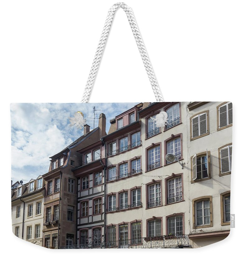 Alsace Weekender Tote Bag featuring the photograph Place Gutenberg Cityscape by Teresa Mucha