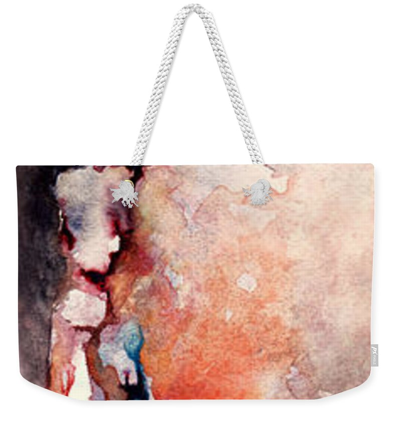 Abstract Weekender Tote Bag featuring the painting Places In The Heart by Rachel Christine Nowicki