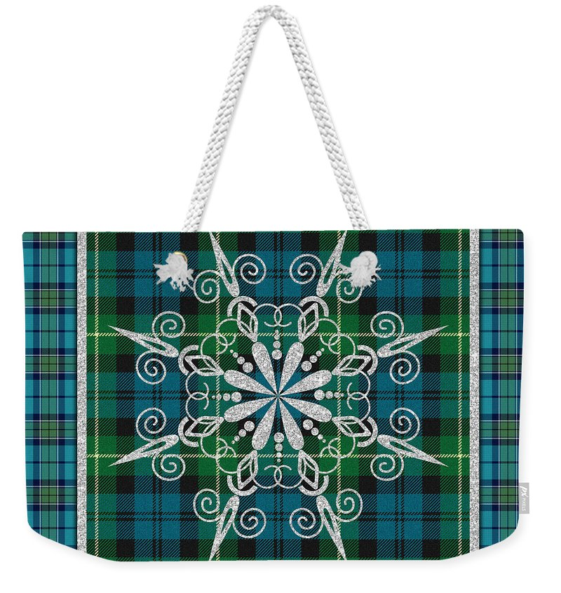 Jean Plout Weekender Tote Bag featuring the painting Plaid Snowflakes-jp3704 by Jean Plout