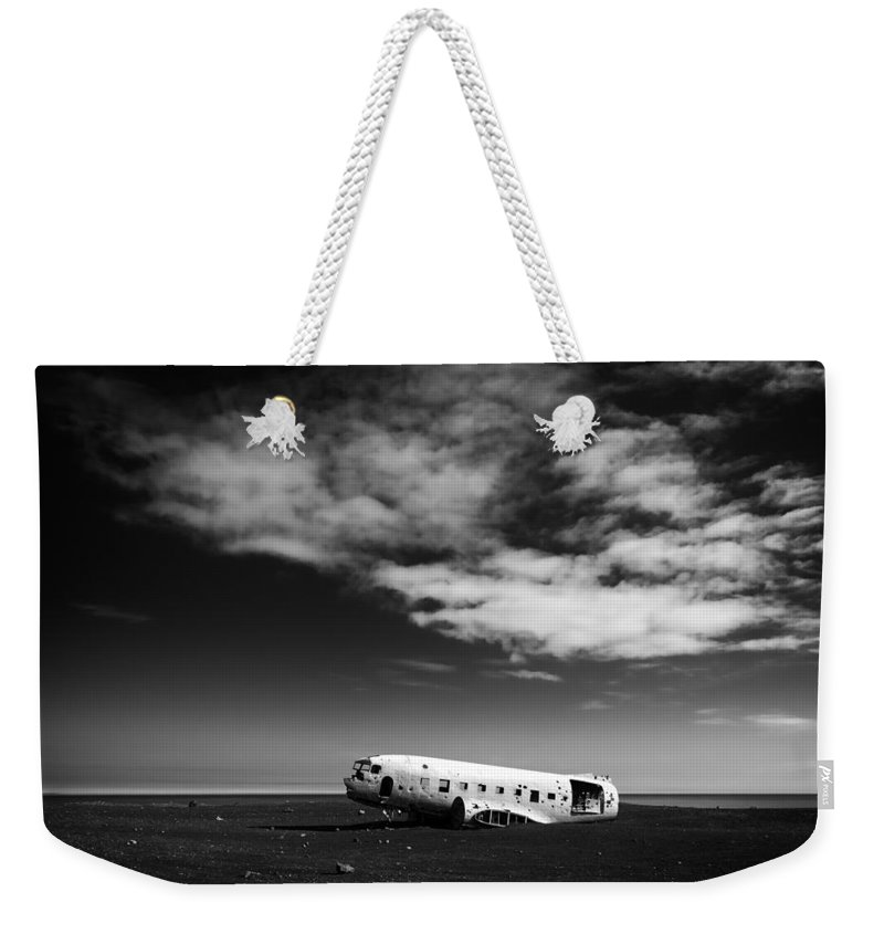 Iceland Weekender Tote Bag featuring the photograph Plane Wreck Black And White Iceland by Matthias Hauser