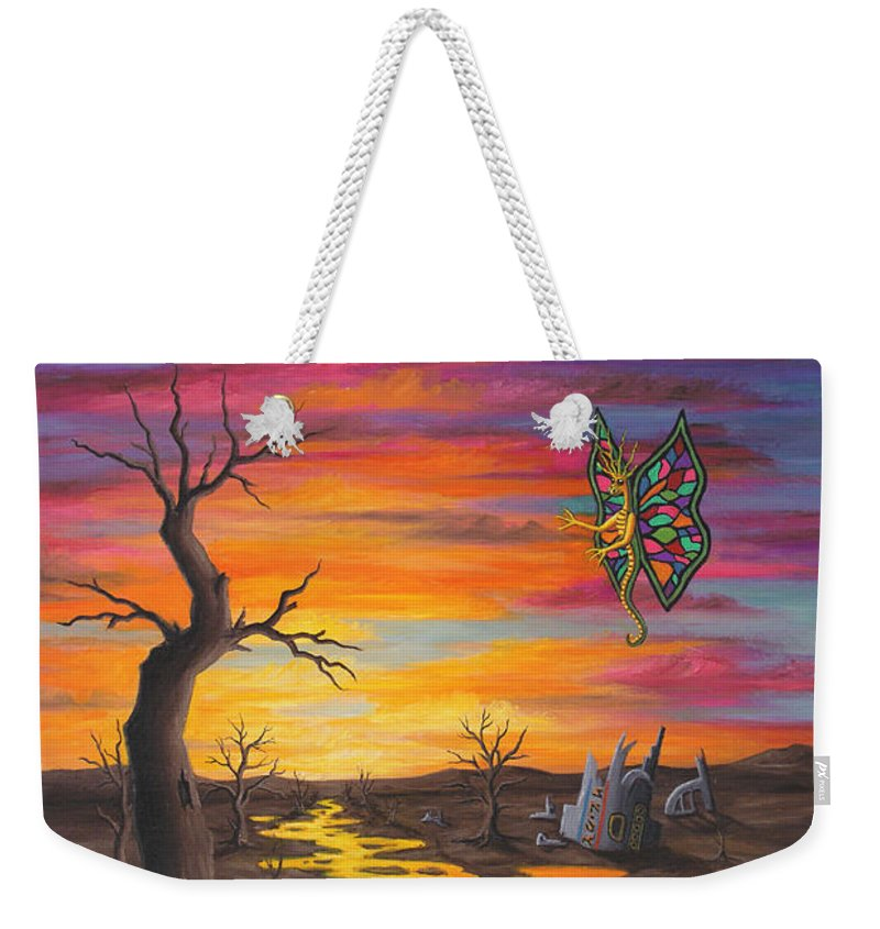 Fantasy Weekender Tote Bag featuring the painting Planet PX7 by Roz Eve