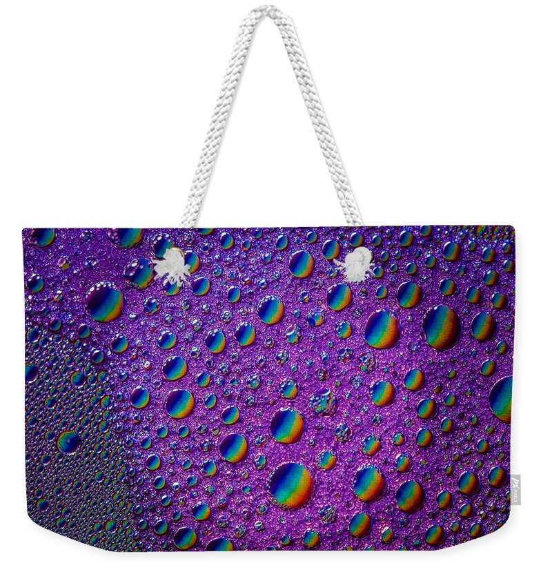 Abstract Weekender Tote Bag featuring the photograph Planetary Rainbow Drop Alignment by Bruce Pritchett