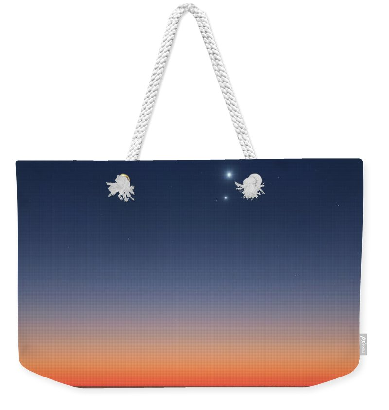 Landscape Weekender Tote Bag featuring the photograph Planets Over The Ocean by Yuri Beletsky