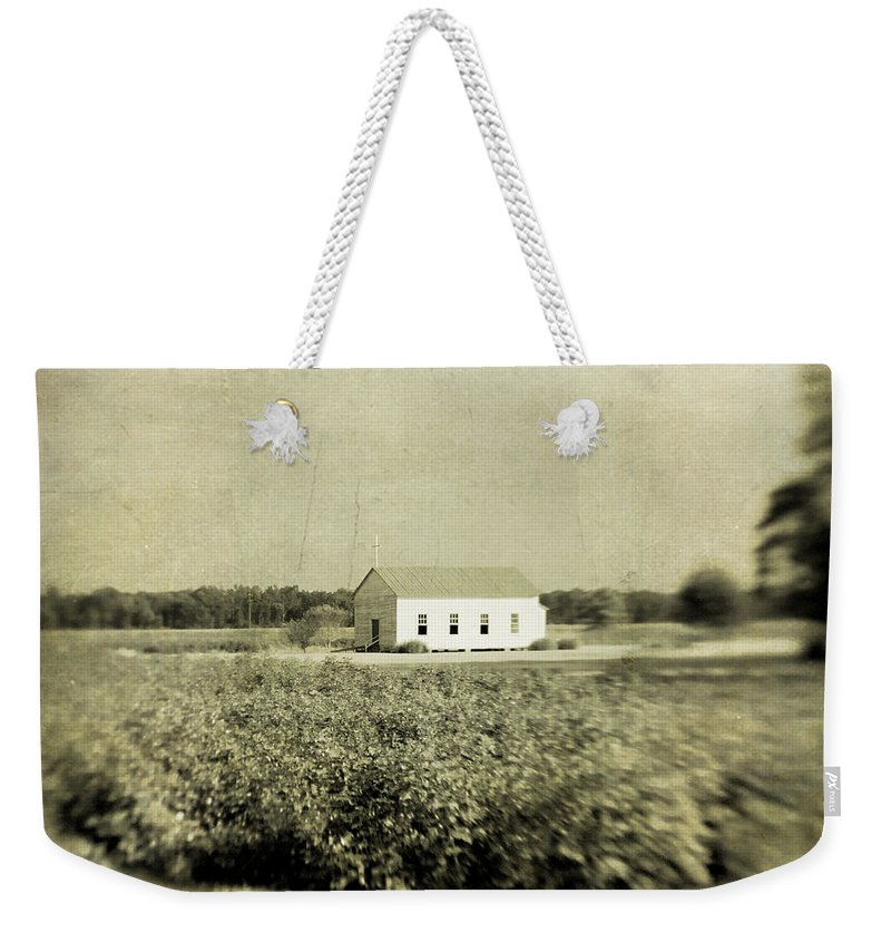 Church Weekender Tote Bag featuring the photograph Plantation Church - Sepia Texture by Scott Pellegrin