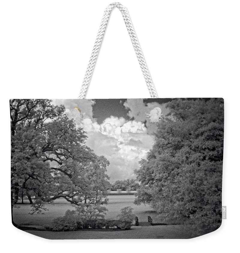 Oak Alley Plantation Louisiana New Orleans Weekender Tote Bag featuring the photograph Plantation Grounds by Fred Hahn