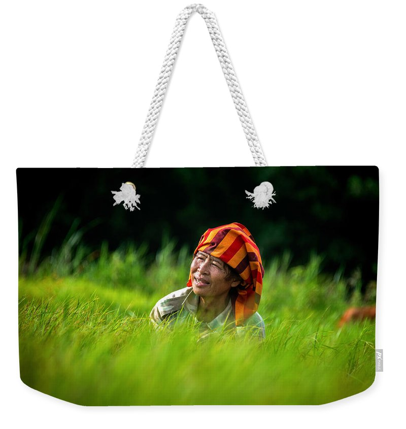 Rural Weekender Tote Bag featuring the photograph Planting Rice By Hand by Lee Craker