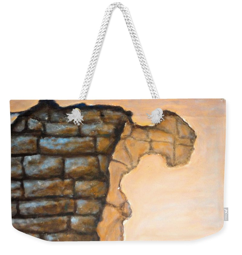 Plaster Weekender Tote Bag featuring the painting Plaster It by Usha Shantharam