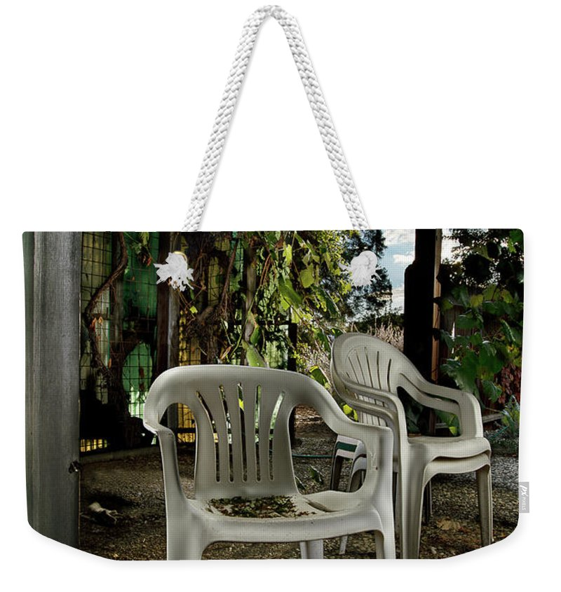 Paint Weekender Tote Bag featuring the photograph Plastic Chairs by Yo Pedro