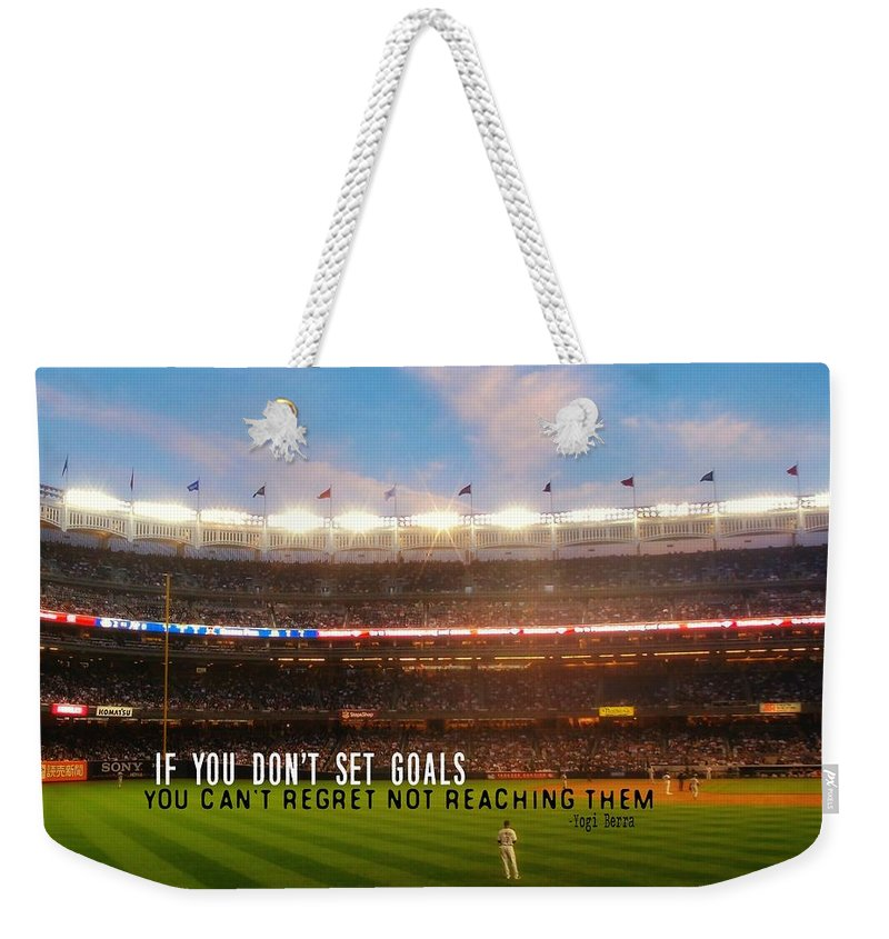 Baseball Weekender Tote Bag featuring the photograph Play Ball Quote by JAMART Photography