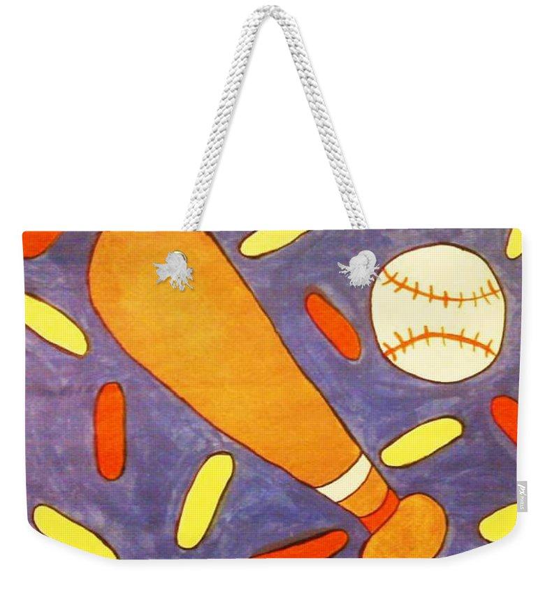 Nursery Weekender Tote Bag featuring the painting Play Ball by Tasha Ramirez
