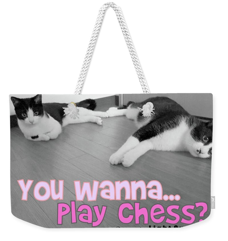 Cat Weekender Tote Bag featuring the digital art Play Chess? by Pookie Pet Portraits