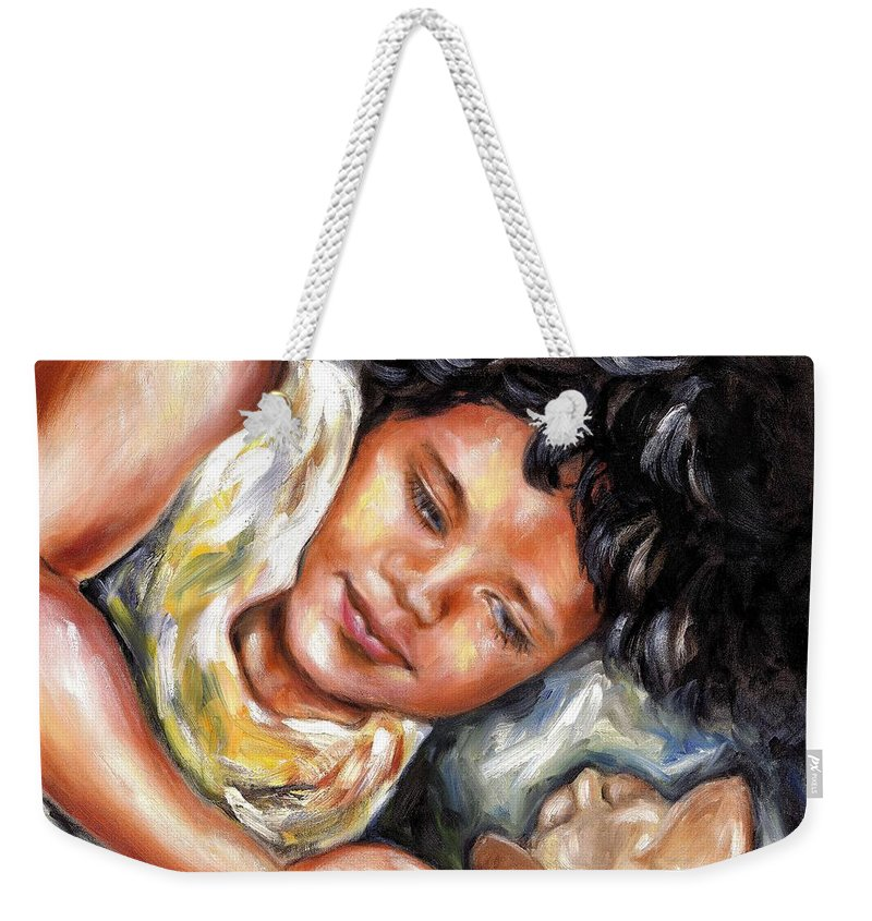 Child Weekender Tote Bag featuring the painting Play Time by Hiroko Sakai