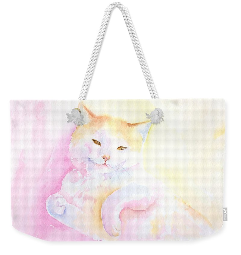 Cat Weekender Tote Bag featuring the painting Playful Cat I by Elizabeth Lock