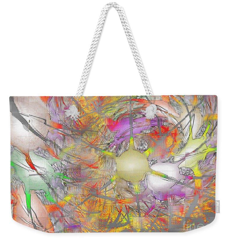 Fractal Weekender Tote Bag featuring the digital art Playful Colors Of Energy by Deborah Benoit