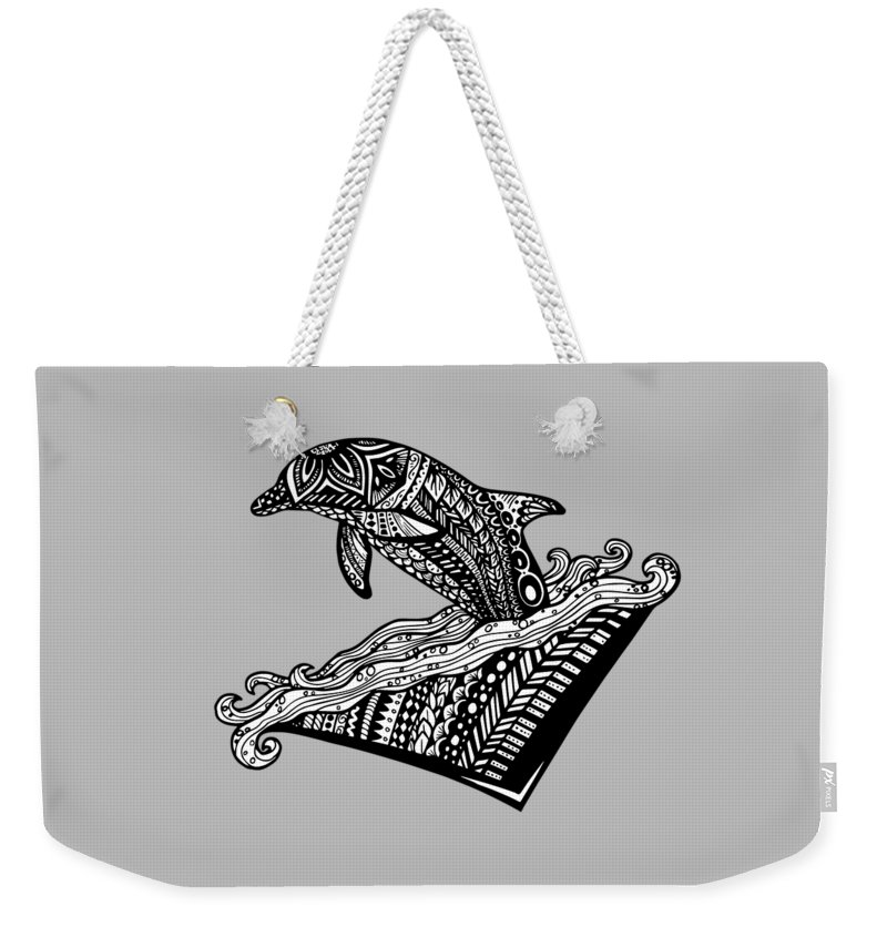 Dolphin Weekender Tote Bag featuring the drawing Playful Dolphin Zentangle by Kylee S