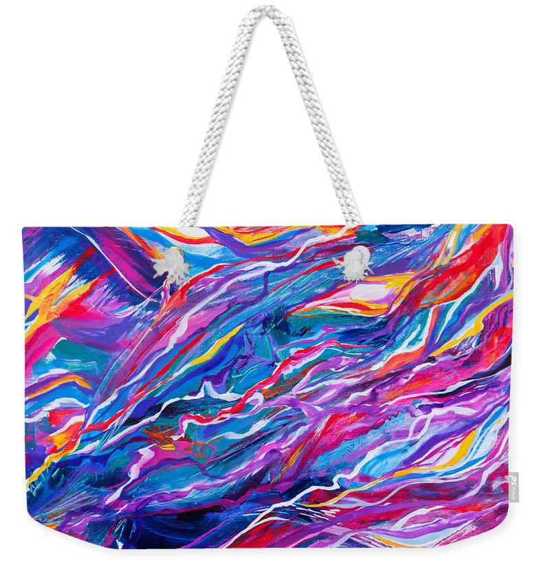 Filaments Lines Strokes Rushing Water Full Of Vibrant Color And Dynamic Movement Energy Contemporary Original Abstract Weekender Tote Bag featuring the painting Playful stream by Priscilla Batzell Expressionist Art Studio Gallery