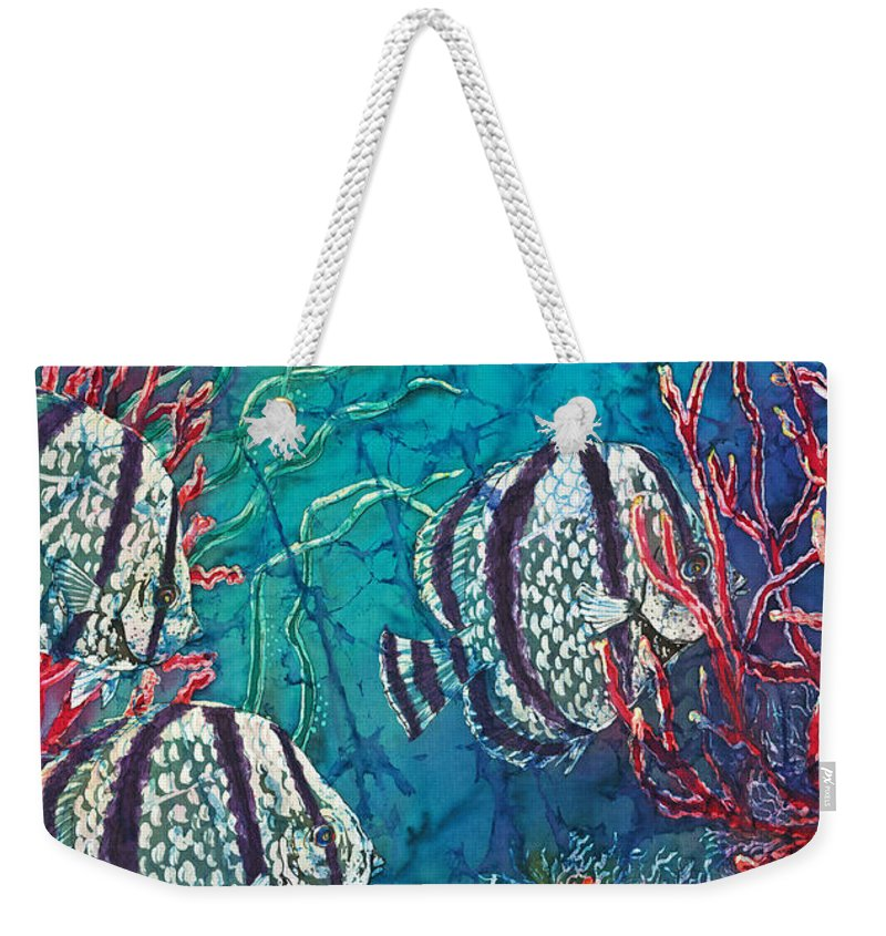Fish Weekender Tote Bag featuring the painting Playful Trio by Sue Duda