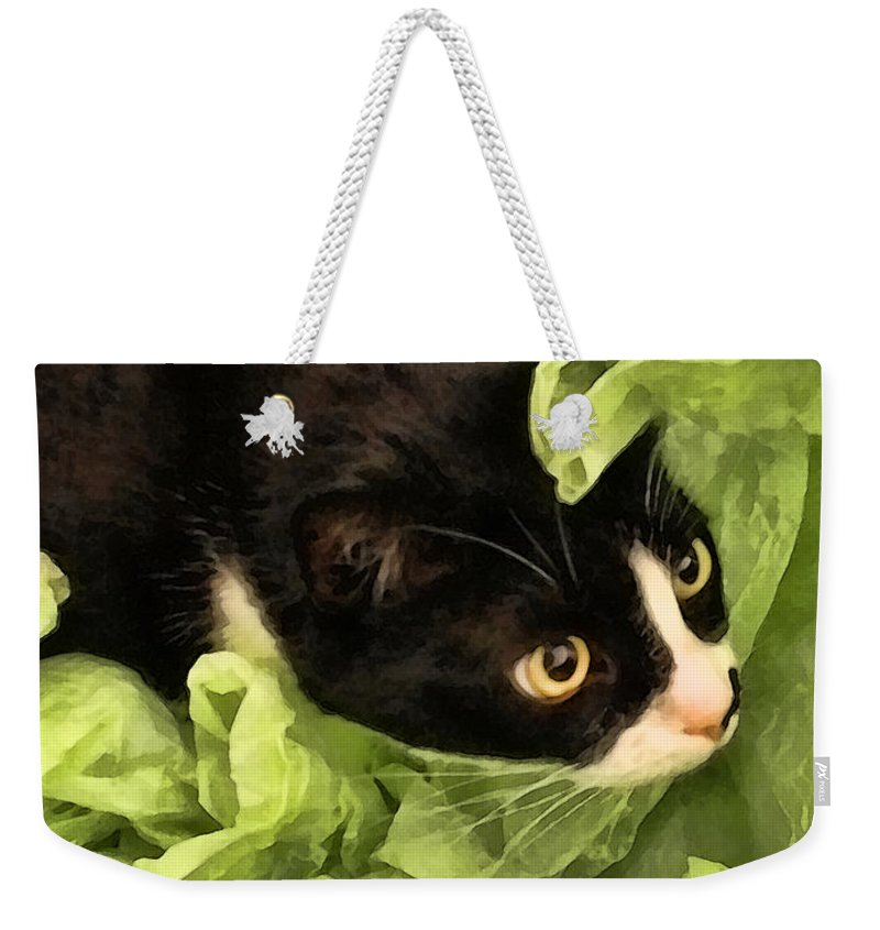 Tuxedo Weekender Tote Bag featuring the photograph Playful Tuxedo Kitty In Green Tissue Paper by Kathy Clark