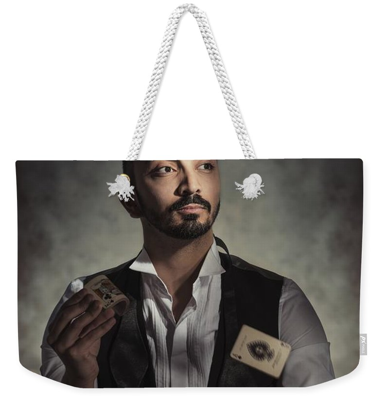 Portrait Weekender Tote Bag featuring the photograph Playing Cards by Amanda Elwell