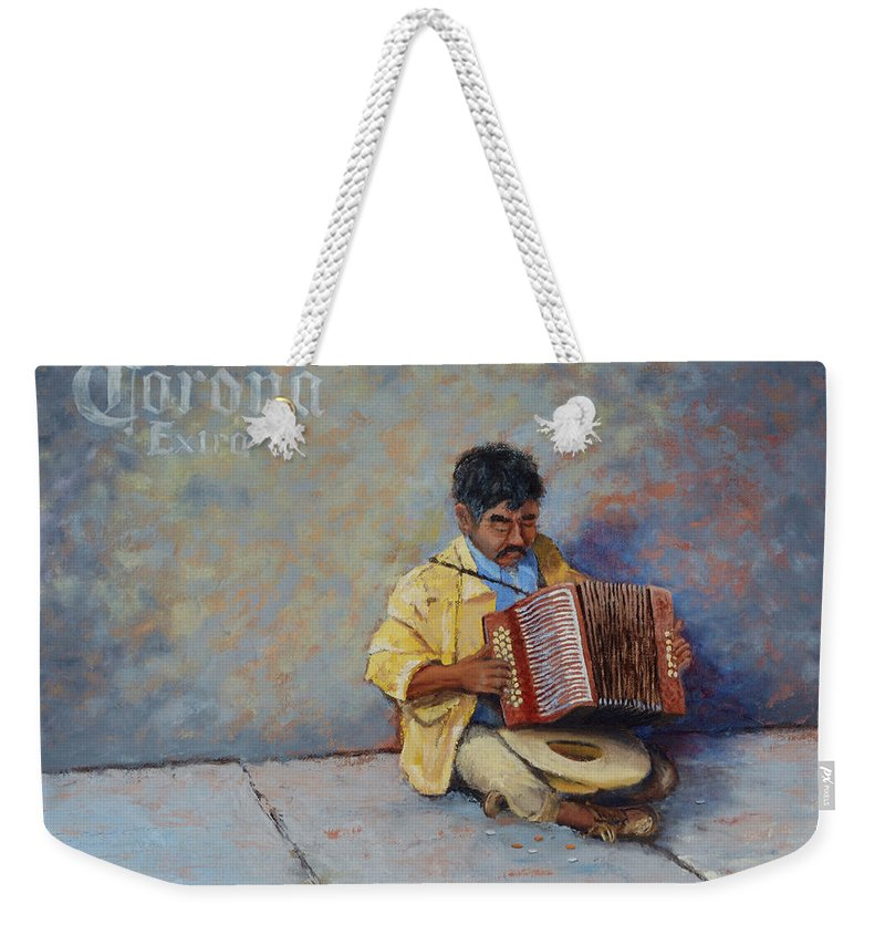 Mexico Weekender Tote Bag featuring the painting Playing For Pesos by Jerry McElroy