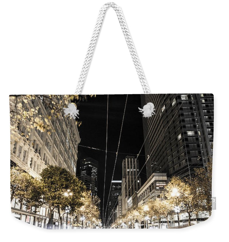 San Francisco Weekender Tote Bag featuring the photograph Playing In Traffic by Digital Kulprits
