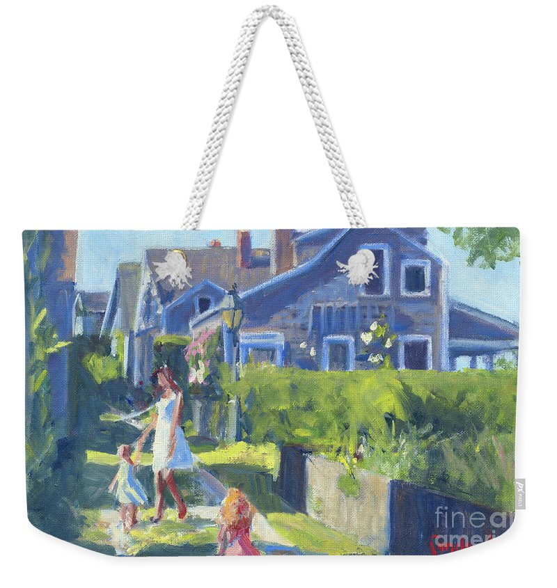 Playing On Front Street Weekender Tote Bag featuring the painting Playing On Front Street by Candace Lovely
