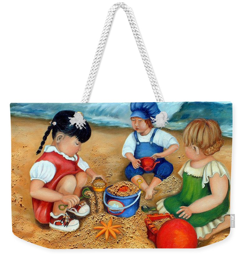 Beach Weekender Tote Bag featuring the painting Playtime At The Beach by Portraits By NC