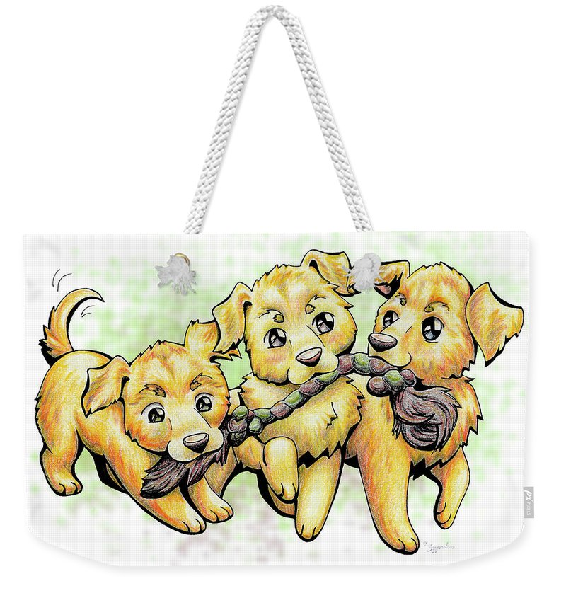 Puppy Weekender Tote Bag featuring the drawing Playtime Golden Retriever by Sipporah Art and Illustration