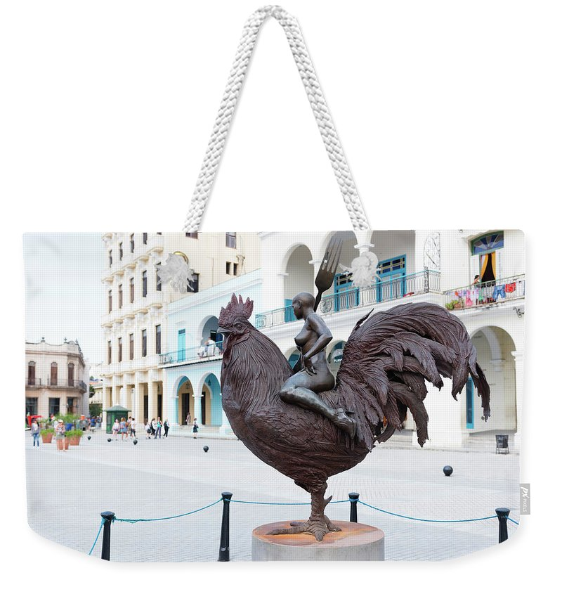 Havana Weekender Tote Bag featuring the photograph Nude On Rooster by Clifford Beck
