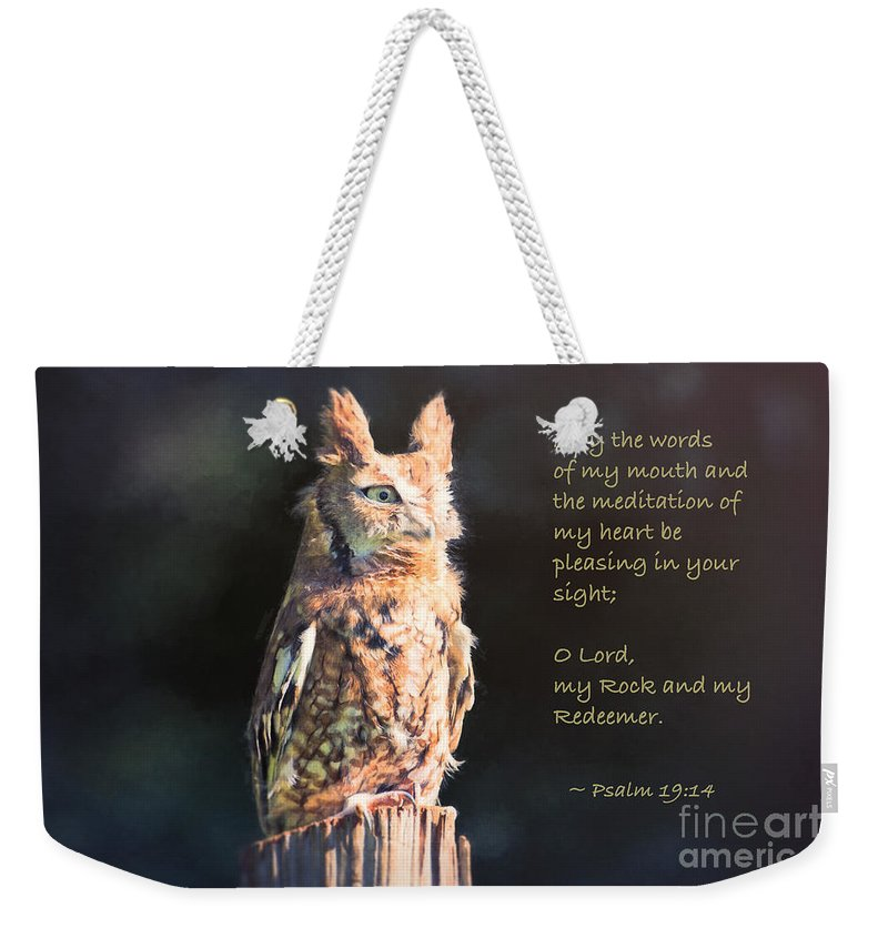 Owl Weekender Tote Bag featuring the photograph Pleasing In Your Sight - Psalm 19 by Sharon McConnell