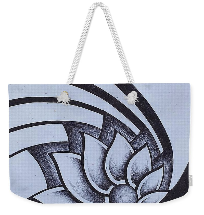 Pleiades Weekender Tote Bag featuring the drawing Pleiadean Daisy by Noah Babcock
