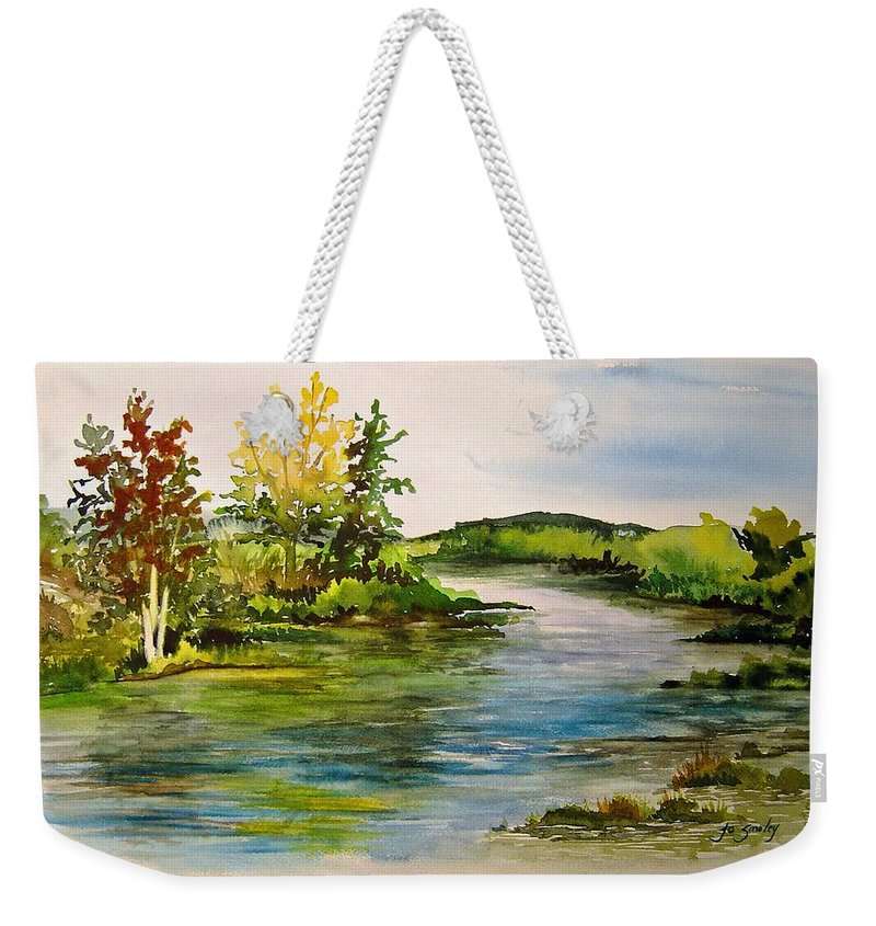 Grand Beach Manitoba Lagoon Weekender Tote Bag featuring the painting Plein Air at Grand Beach Lagoon by Joanne Smoley