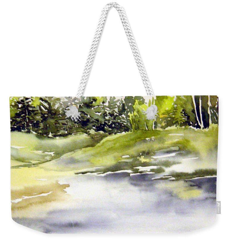 Nutimik Lake Whiteshell Manitoba Weekender Tote Bag featuring the painting Plein Air At The Pond At Nutimik by Joanne Smoley