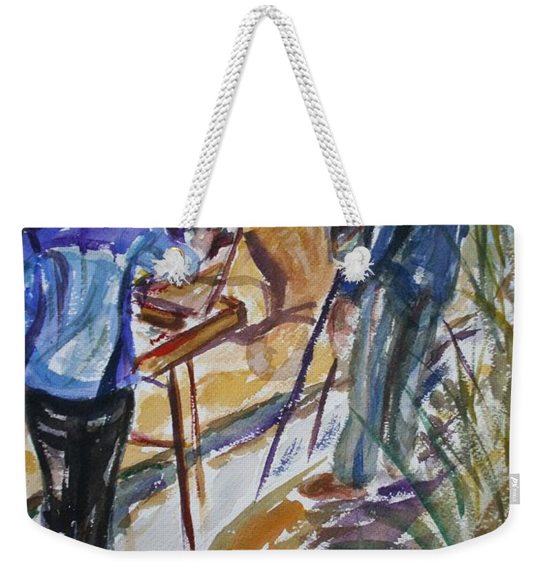 Impressionist Weekender Tote Bag featuring the painting Plein Air Painters - Original Watercolor by Quin Sweetman