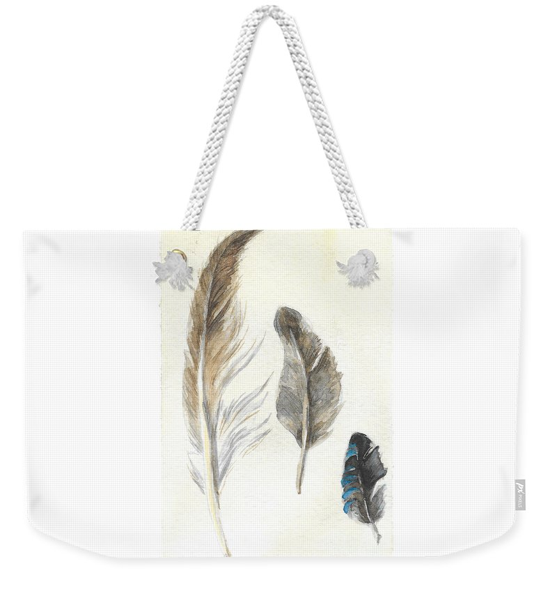Plumage Weekender Tote Bag featuring the painting Plumage by Yana Sadykova