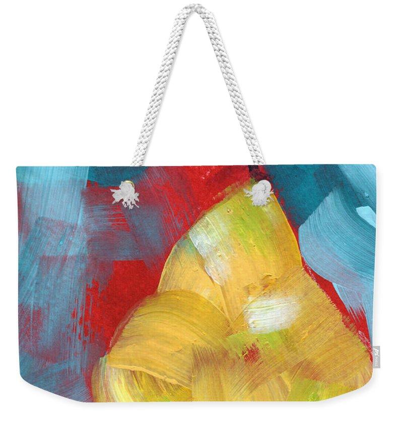 Pear Weekender Tote Bag featuring the painting Plump Pear- Art By Linda Woods by Linda Woods