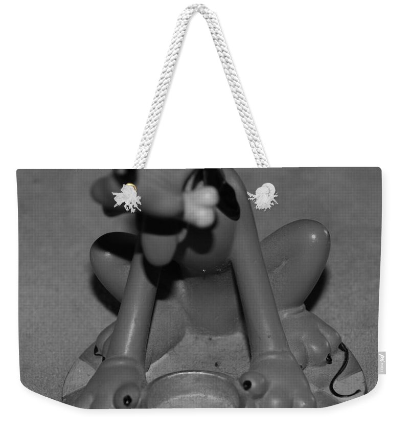 Black And White Weekender Tote Bag featuring the photograph Pluto by Rob Hans