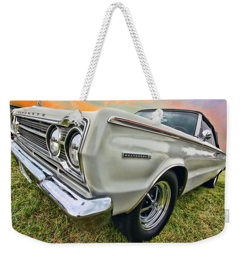 1967 Weekender Tote Bag featuring the photograph Plymouth Belvedere II by Gordon Dean II