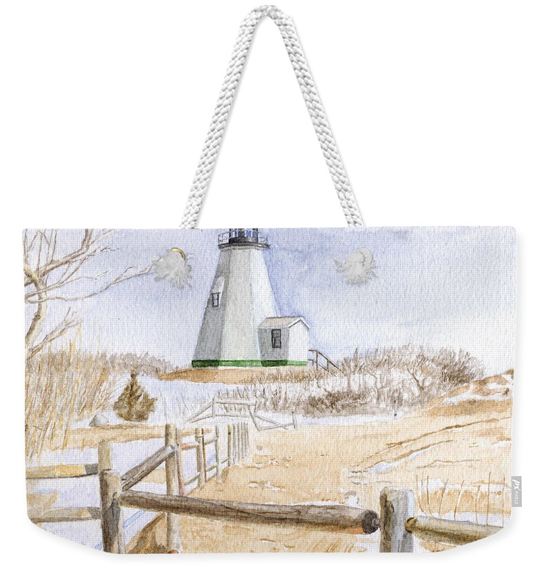 Lighthosue Weekender Tote Bag featuring the painting Plymouth Light In Winter by Dominic White