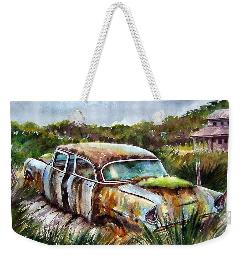 Plymouth Weekender Tote Bag featuring the painting Plymouth On The Rocks by Ron Morrison
