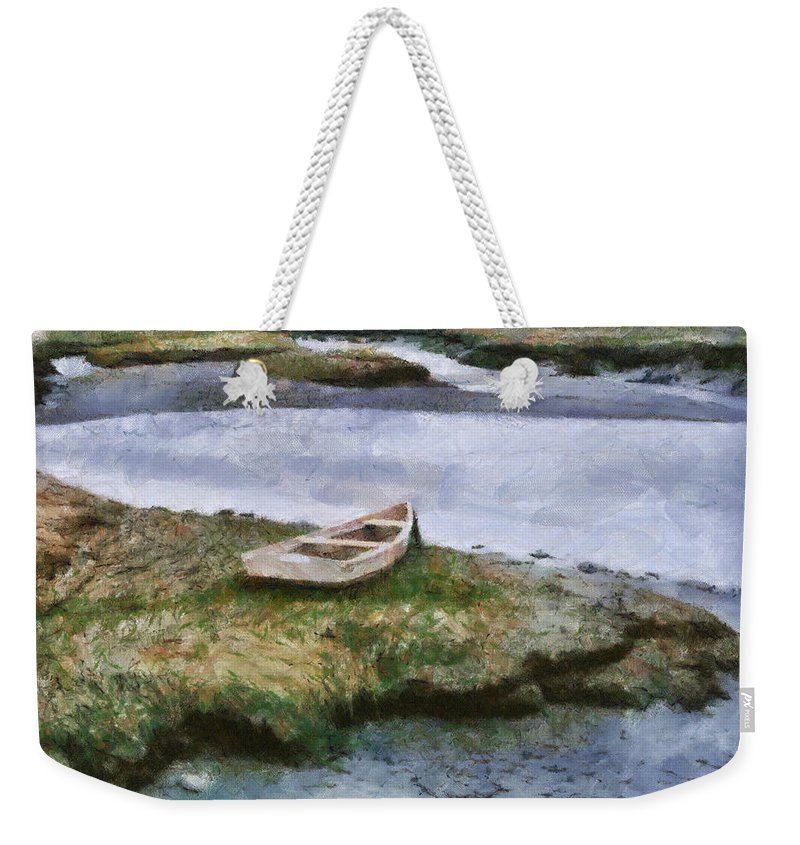 Boat Lake Water Painting Ocean Marsh Fishing Nature Pond Weekender Tote Bag featuring the painting Pnrf0503 by Henry Butz