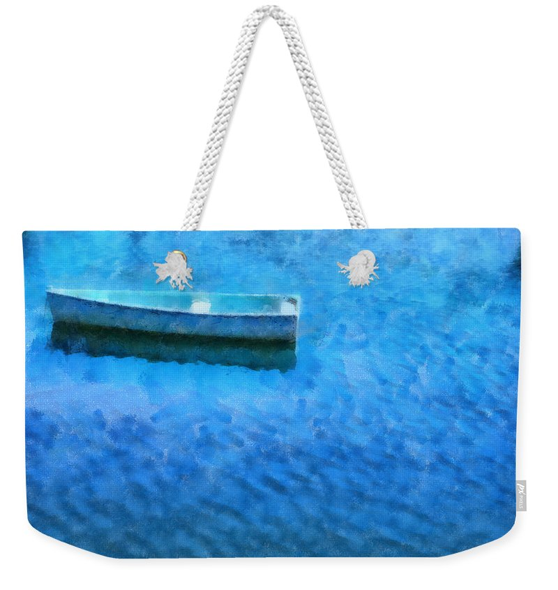Boat Lake Water Painting Ocean Sea Fishing Nature Weekender Tote Bag featuring the painting Pnrf0512 by Henry Butz